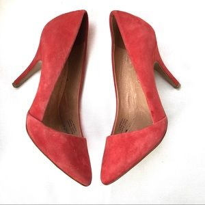 Madewell Red Coral Asymmetrical Suede Mira Pumps